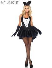 MOONIGHT Bunny Girl Rabbit Costumes Women Cosplay Sexy Halloween Adult Animal Costume Fancy Dress Clubwear Party Wear M L XL 2XL(China)