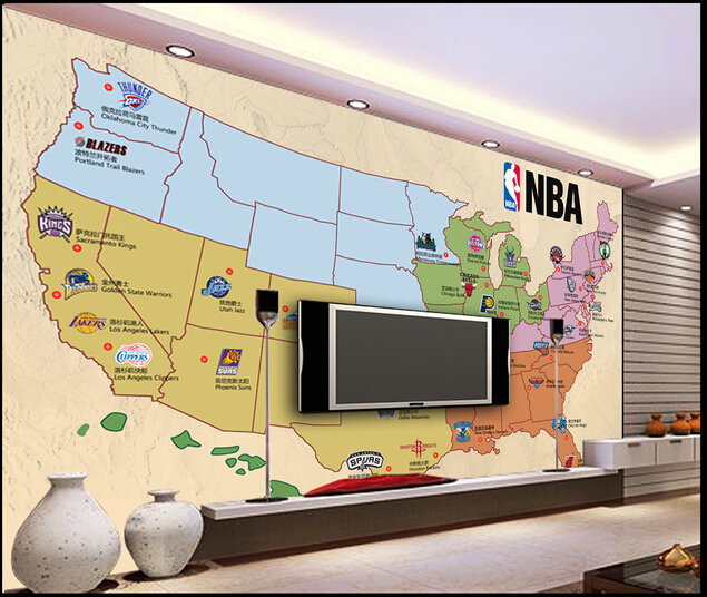 Customized de parede 3D Papel,the basketball team on the occasion of the map for the living room bedroom TV wall wallpaper vinyl<br>