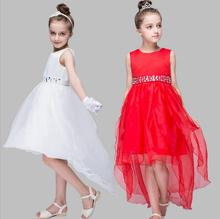 Grils Princess long Tailing Dresses for Birthday party and wedding Bling Sequins Belt kids frock designs For 2 4 6 8 10 12 Years