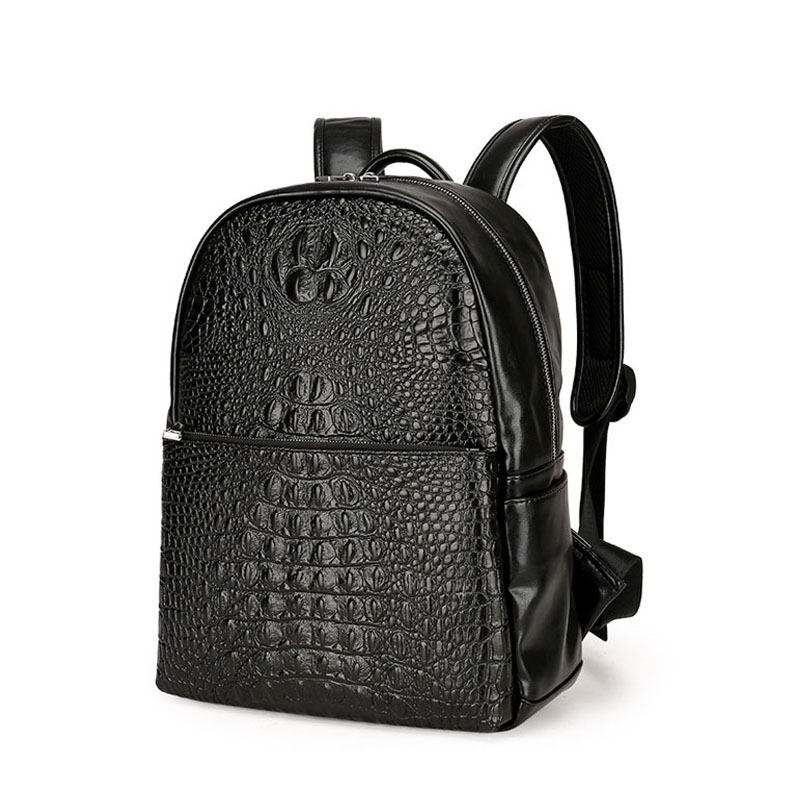 New mens leather Backpack Korean Fashion Crocodile Pattern Notebook Computer Bag Male Business Travel Backpack<br>