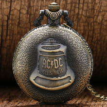 Antique Steampunk ACDC Hells Bell Quartz Pocket Watch Necklace Pendant Retro Men Women Xmas Gift