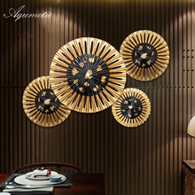 Aqumotic Intdoor Round Wall Fan Feng Shui Wall Sticker Fan Chinese Stickers & Murals Hotel Decor Room Background Wall Pendant