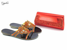 Popular red with stones design African slipper shoes and handbag set for lady 112-1, 4 color for sale