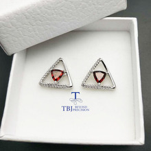 TBJ,925 silver earring stub with natural Mozambique Garnet trl6,nautral garnet earring for women with gift box ,free shipping(China)