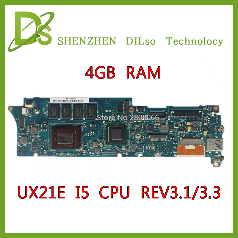KEFU UX21E For ASUS UX21E Laptop motherboard ZENBOOK UX21 i5 CPU 4G RAM rev3.3 & rev3.1  UX21E mainboard Test