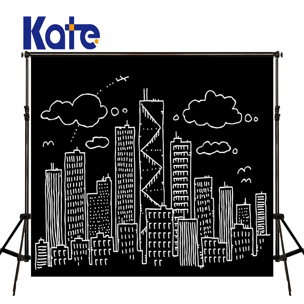 KATE Photography Backdrops Newborn Black Board Background Children Dark Backdrop Cartoon City Children Backdrop for Photo Studio<br>