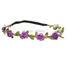 8pcs Artificial Flowers Headbands Green Leaves Crown Bohemian Hair Accessories Purple Gypsy Elastic Head Bands Flower Circlet(China)