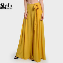 SheIn High Waist Pants Yellow Loose Pants for Women Summer Side Tie Pleated Culotte Pants Drawstring Waist Wide Leg Trousers