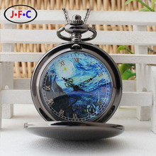 "new black pocket watch Van Gogh and the wind ""starry night"" pattern of fashion  retro quartz pocket watch"