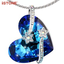 iSTONE Natural Gemstone Blue Crystal 925 Sterling Silver Heart Pendant Necklace For Women Fine Jewelry Gift For girlfriend(China)
