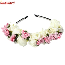 Trendy Style New Fashion Flower Floral Korean Style Hair Band Type Bridal Wreath Holder Hoop Bride Wedding Ornaments Gift 1PC