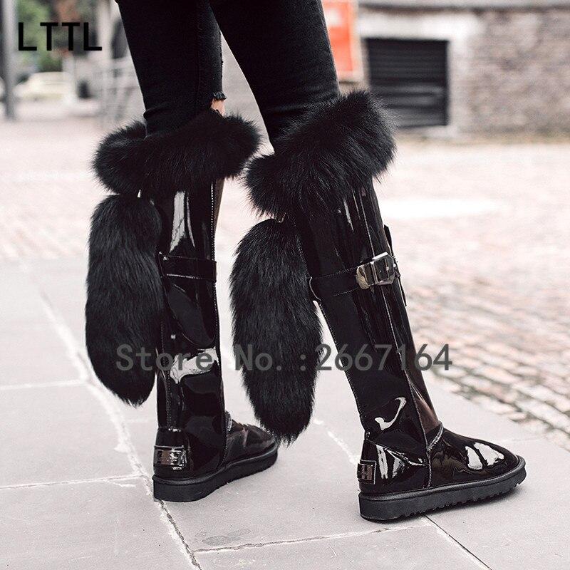 2017 Winter Boots Long Plush Warm Fur Women Leather Shoes Handmade Black Knee-High Russia Boots Footwear Snow Botas<br><br>Aliexpress
