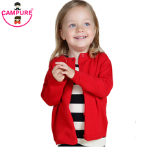 2016 Children Cotton Knit Sweater Spring Baby Girl Soild Color Long-Sleeved Coat Child Clothes Kid Cardigan 1-Years Sweatercoat