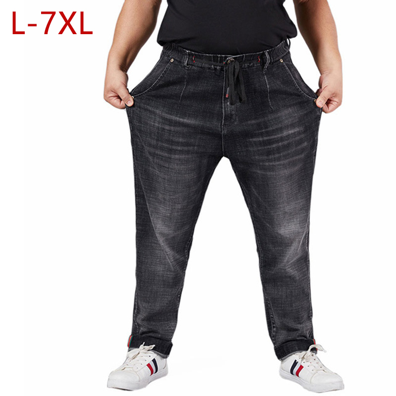 L-7XL Big Size High Quality Overall Men Jeans Classic Black Male Pants Comfortable Elastic Waist Casual Trousers Straight HLX19