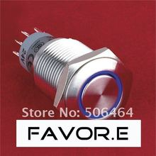 LED Stainless steel 16mm IP67 3A/250VAC 2NO 2NC ring illuminated latching metal Push Button Switch Flat round