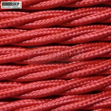 100m pack 3 core 0.75mm round braided fabric electrical lighting flex cable red vintage pendant lamp wire cable