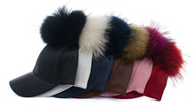 2016 Hot Sale Men Women Winter Hat PU Leather Pom Pom Cap Leather Hat With Fur Ball Candy Color Visor Fitted  Unisex