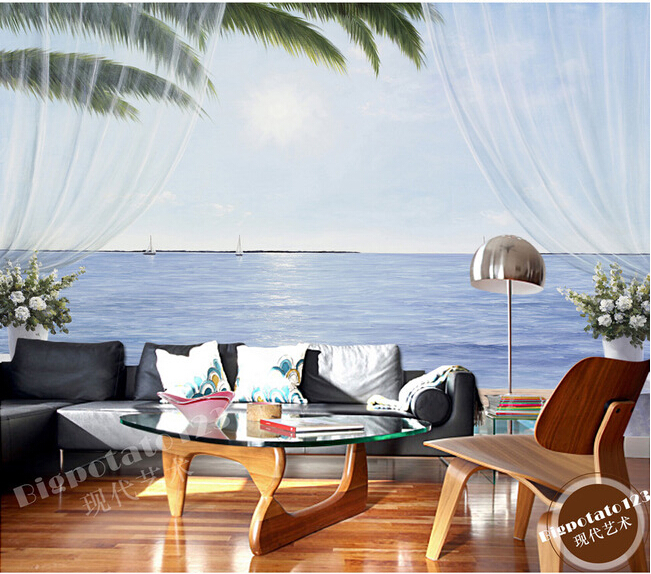 Custom 3D murals, fresh gauze curtain outer sea sailing oil painting , living room sofa TV wall bedroom background wall paper<br>