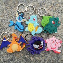 Cute free shipping Cartoon Pokemon figures pvc keychains anime Pikachu Bulbasaur Gastly Chansey Squirtle cute pendants