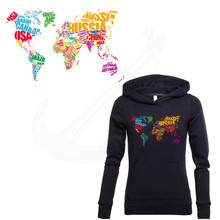 2017 NEW Color English word World Map stickers 28*16.9cm iron on patch T-shirt Sweater thermal transfer paper Patch for clothing