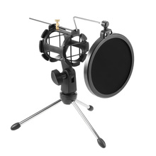 Adjustable Studio Condenser Microphone Stand Desktop Tripod for Microphone with Windscreen Filter Cover