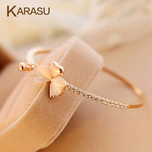 KARASU New Fashion Jewelry Sweet Clover Opal Charm Crystal Bows Love Heart Bracelet Bangle for Women