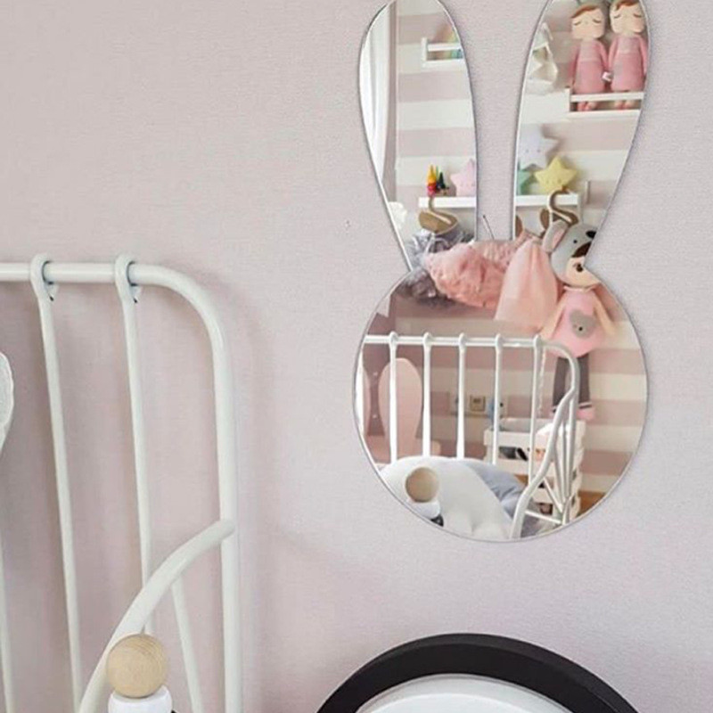 Nordic Scandinavia Style Kawaii Nursery Decorative Mirror Venetian Bathroom Round Plexiglass Wall Mirror With Frame Hanging Deco(China)
