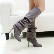 Spring New Stretch Flock Knee Length Boots Repair Legs High-Heeled High Boots Single Boots Ladies  Boots Em2931