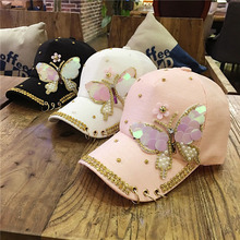 Luxury Women Baseball Cap Brand Bling butterfly Pearl Sequins Hip Hop Cap Vintage Snap Back Design Cap Casual Snapback Hat New(China)