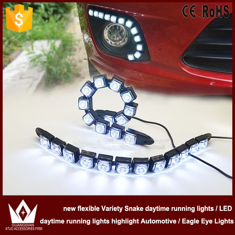 Night Lord free shipping 12pcs SMD new flexible Variety Snake daytime Lights Flexible DRL Daytime Running Light Fog Warning Lamp<br>