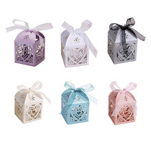 100pcs Romantic Wedding Party Decor Love Heart DIY Candy Cookie Gift Boxes Bags Wedding Birthday Candy Box with Ribbon 5 Colors