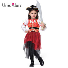 Halloween Children Kids Caribbean Pirate Costume Dress Hat Pirates Costumes Cosplay Fancy Fantasia Infantil Clothing for Girl(China)