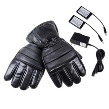 4000mAh PU Leather Electric Heated Gloves Winter Windproof Ski Cycling Outdoor Warmer Gloves Rechargeable Battery 2018 New(China)