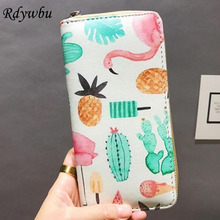 Rdywbu High Quality Women Leather Clutch Wallets Printing Flamingo Purse 12 Styles Choose Cards Holder Simple Money Bags H164