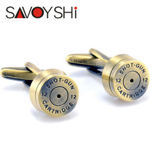 Bronze Bullet Cufflinks for Mens French Shirt Cuff bottons Wedding High Quality Round Cufflinks Fashion SAVOYSHI Brand Jewelry(China)