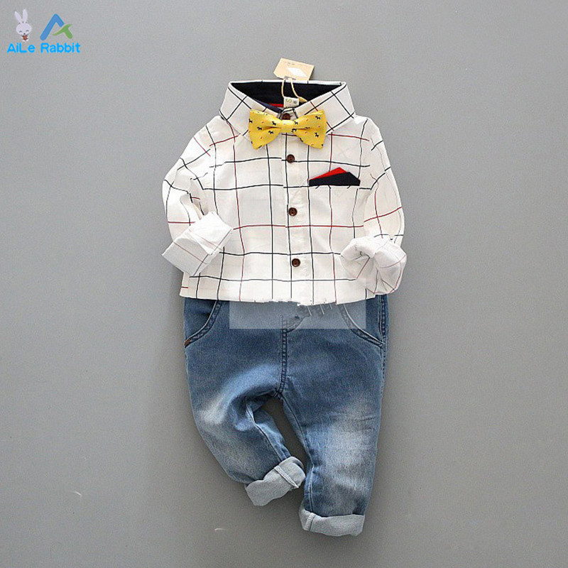 Boy gentleman suit shirt + jeans pocket bow tie long-sleeved Cowboy Denim pants plaid suit Kids clothing set Free shipping<br><br>Aliexpress