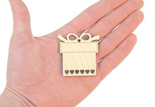 Wooden Present Gift Box Shapes Wood Gift Tag Embellishment Craft Decoration Decoupage