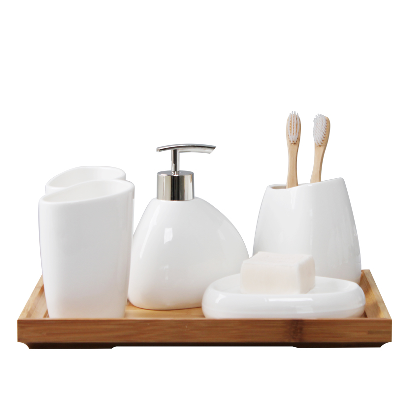 Bathroom-White-Soap-Dispenser-toothbrush-Accessories-Four-Piece-Set-Ceramics-Crafts-Kit-Banheiro-Salle-De-Bain (4)