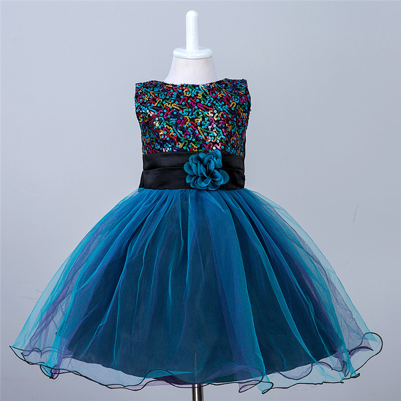 Fashion Princess Girl Party Dresses Flower Sequined Tutu Style Wedding Dress for Christening Birthday Dress Clothes 3-10 Years<br>