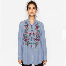 Buy 2017 Spring Vogue Women Clothing Floral Embroidered Denim Blouse Loose Lapel Slim Cotton Denim Shirt Long Sleeve Female Blouses for $11.40 in AliExpress store