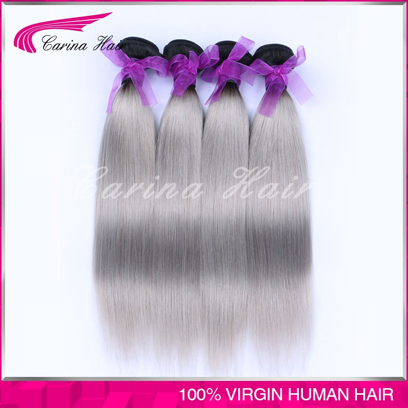 Top quality Ombre Grey Hair Extensions 4 Bundles color two tone Peruvian Grey Hair Weaves silver ombre grey hair free shipping<br><br>Aliexpress