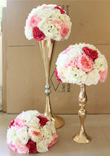 mix Pink series artificial rose wedding flower wall backdrop road lead flower table centerpiece flower ball for party market
