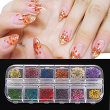 12 Different Colors Real 3D Dried Flower Nail Art Decal Dry Flowers With Case Manicure Decorations Tools