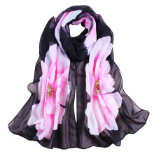 Feitong Women Chiffon Scarf Soft Thin Chiffon Silk Scarf Big Flower Printed Silk Scarves Wrap Shawl Scarves Female Size 160*50CM