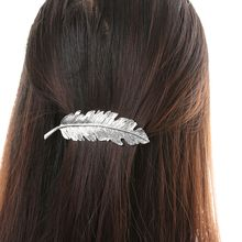 1 X Women Lady Fashion Metal Leaf Shape Hair Clip Barrettes Crystal Pearl Hairpin Barrette Hair Accessories