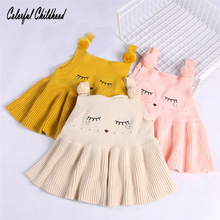 Baby Dress Kids Vest Knitted Dresses New Autumn Fashion Style Children Clothing Cartoon Cat Stripe Cotton Infant Kids Clothes(China)