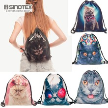 Storage Bag 3D Cat Printed Fashion New Women Drawstring Shopping Bag 30*39cm/11.8*15.4'' 1PCS/Lot(China)