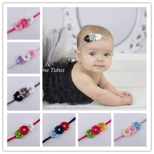 2016 Baby newborn infant headbands thin elastic rhinestone Headband fabric flowers for headbands children hair accessories(China)