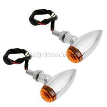 2X Motorcycle Chrome Bullet Turn Signals Indicator Lights Amber Lamp for Harley Choppers Cruisers Honda Yamaha Cafe Racer