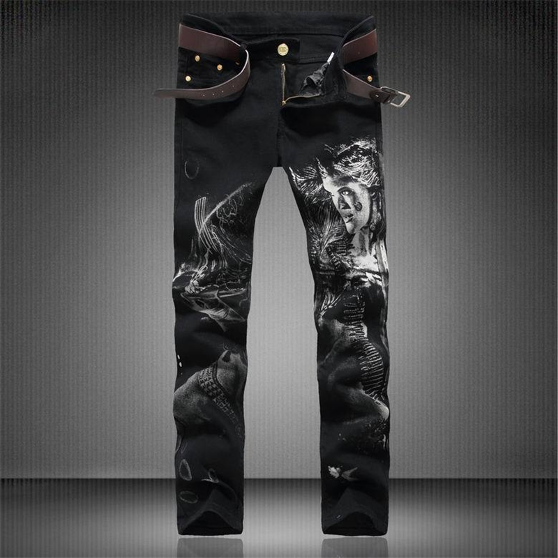 European and American style beauty pattern print black jeans New arrival fashion casual quality cotton stretch jeans men 30-36Одежда и ак�е��уары<br><br><br>Aliexpress